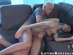 Bareback fucking with young Latino dude and his blond peer